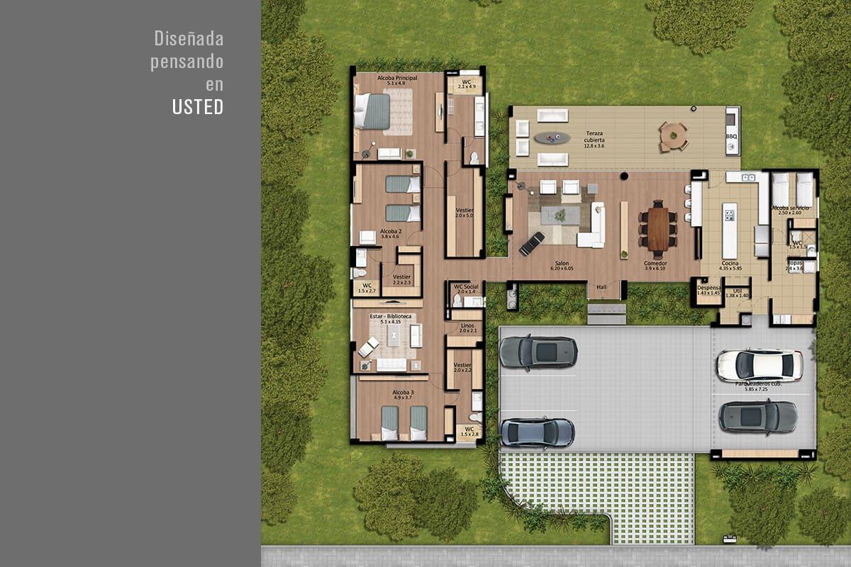 Vista planos planta casa lotes Haras Santa Lucía