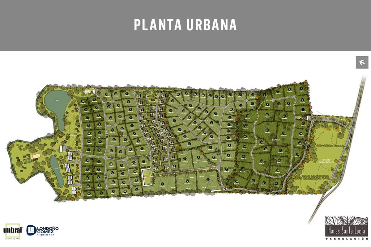 Vista planos planta urbana lotes Haras Santa Lucía